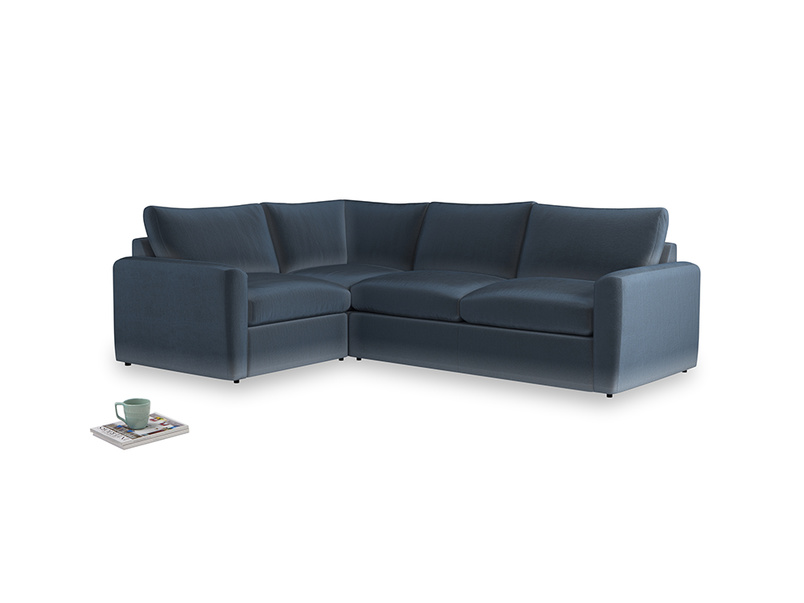 Large left hand Chatnap modular corner sofa bed in Liquorice Blue clever velvet with both arms