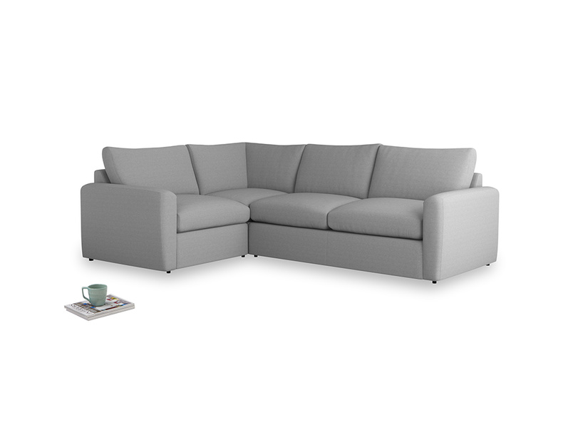 Large left hand Chatnap modular corner sofa bed in Magnesium washed cotton linen with both arms