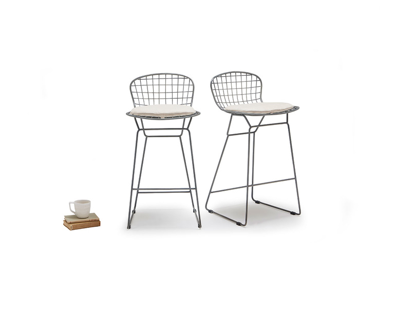 Tall Burger bar stools in Linen