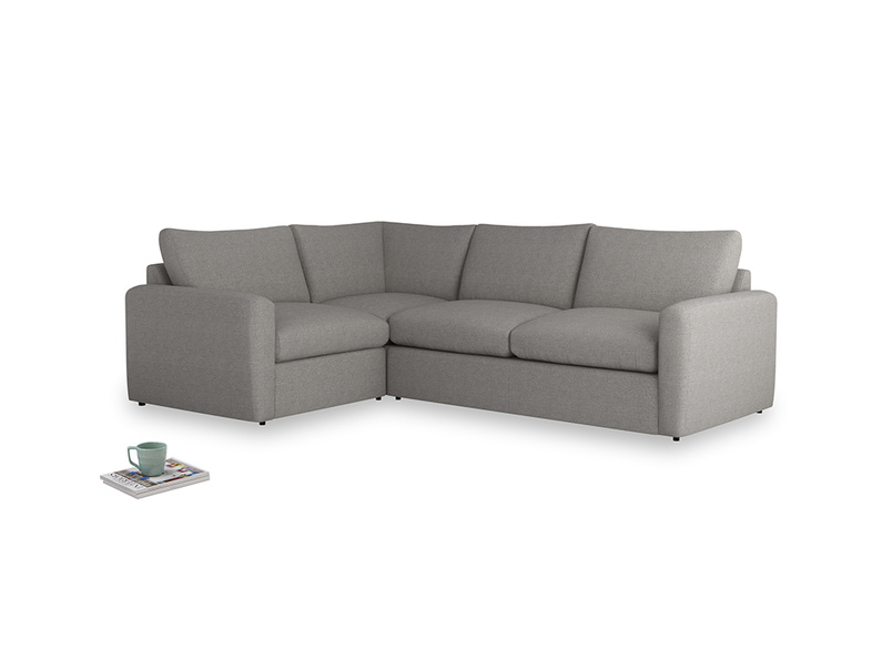 Large left hand Chatnap modular corner sofa bed in Marl grey clever woolly fabric with both arms