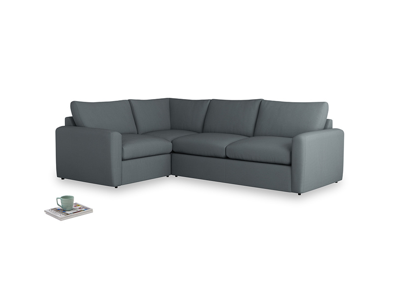 Large left hand Chatnap modular corner sofa bed in Meteor grey clever linen with both arms