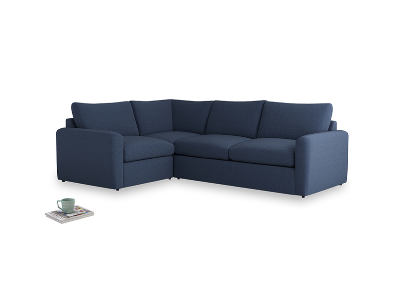 Large left hand Chatnap modular corner sofa bed in Navy blue brushed cotton with both arms