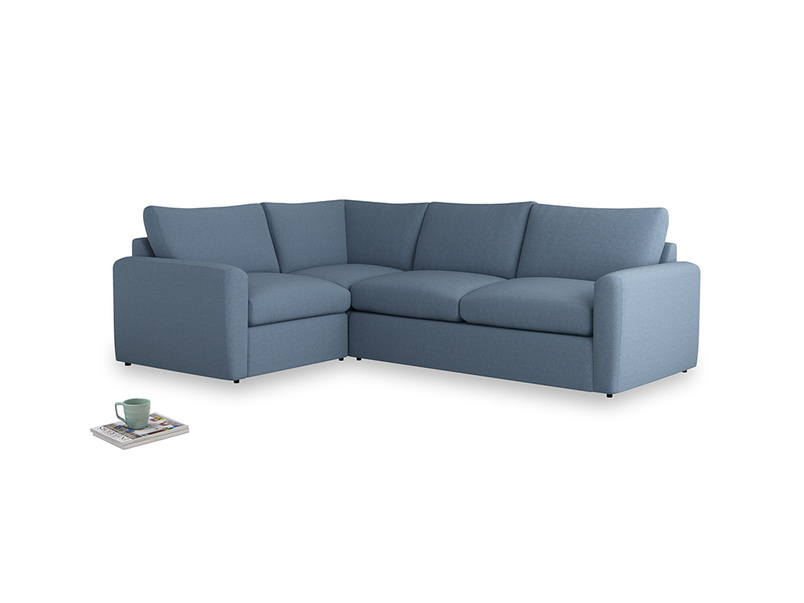Large left hand Chatnap modular corner sofa bed in Nordic blue brushed cotton with both arms
