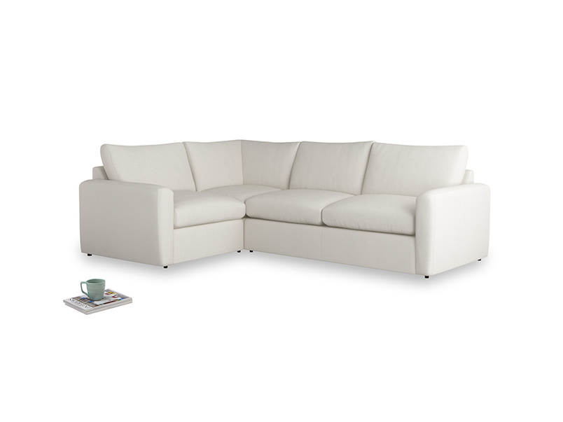 Large left hand Chatnap modular corner sofa bed in Oyster white clever linen with both arms