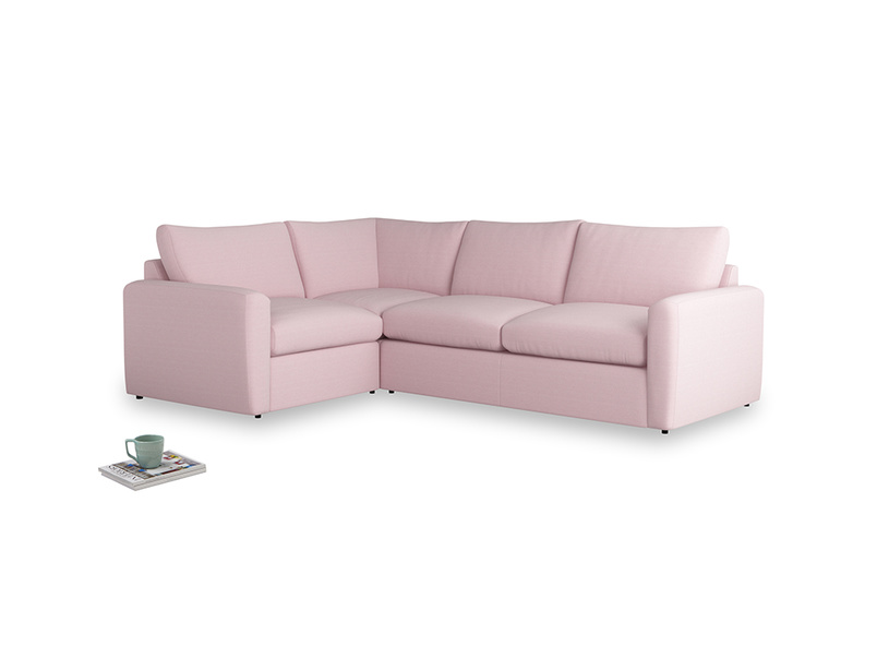 Large left hand Chatnap modular corner sofa bed in Pale Rose vintage linen with both arms