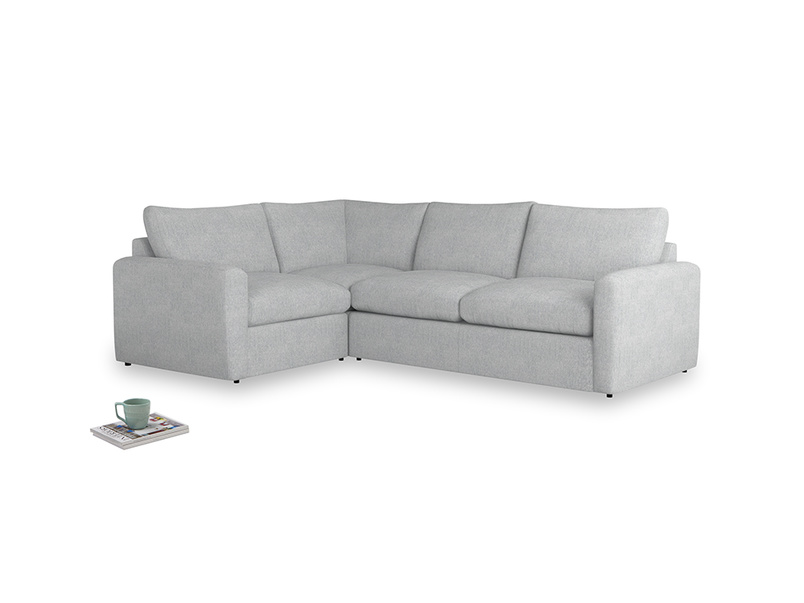 Large left hand Chatnap modular corner sofa bed in Pebble vintage linen with both arms