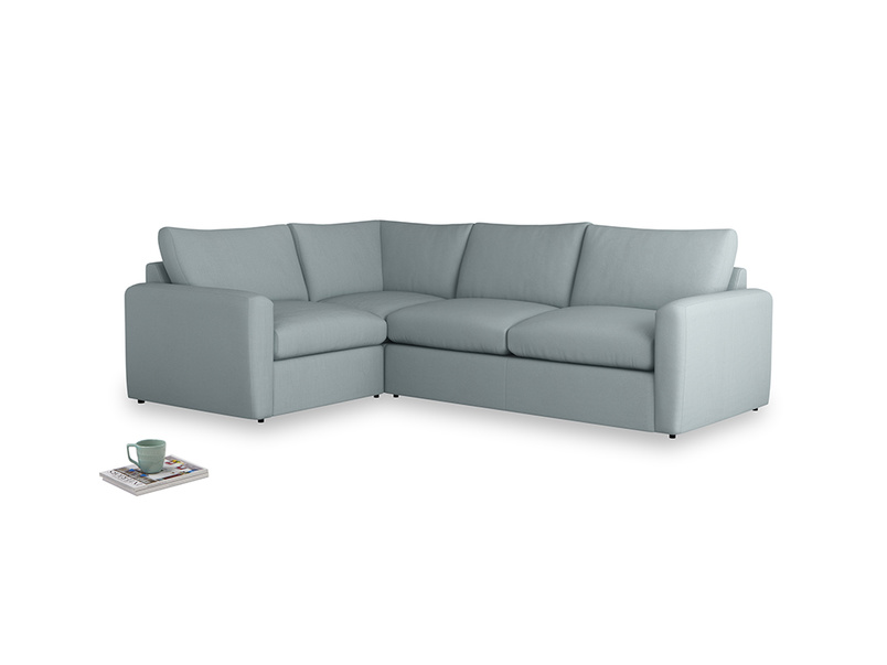 Large left hand Chatnap modular corner sofa bed in Quail's egg clever linen with both arms