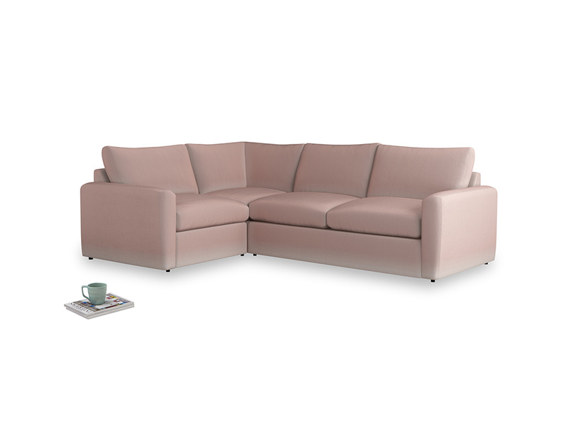 Large left hand Chatnap modular corner sofa bed in Rose quartz Clever Deep Velvet with both arms