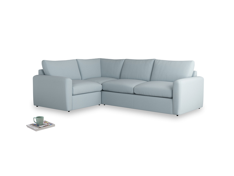 Large left hand Chatnap modular corner sofa bed in Scandi blue clever cotton with both arms