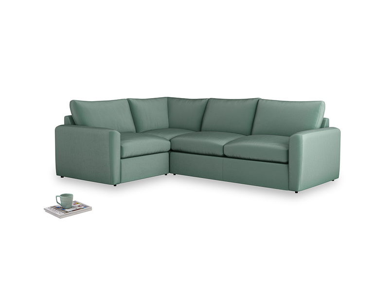 Large left hand Chatnap modular corner sofa bed in Sea blue vintage velvet with both arms