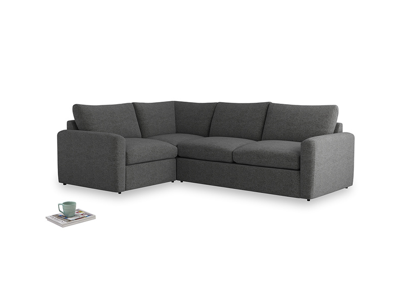 Large left hand Chatnap modular corner sofa bed in Shadow Grey wool with both arms