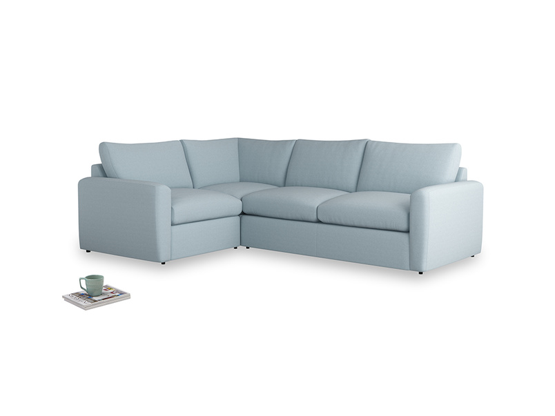 Large left hand Chatnap modular corner sofa bed in Soothing blue washed cotton linen with both arms