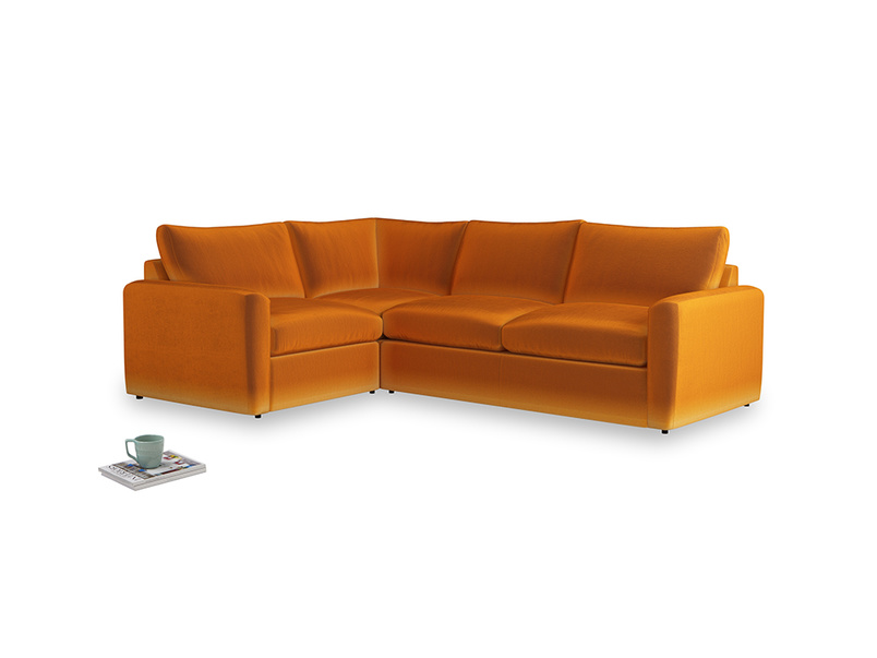 Large left hand Chatnap modular corner sofa bed in Spiced Orange clever velvet with both arms