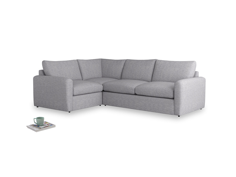 Large left hand Chatnap modular corner sofa bed in Storm cotton mix with both arms