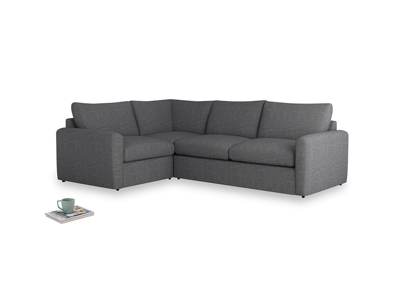 Large left hand Chatnap modular corner sofa bed in Strong grey clever woolly fabric with both arms