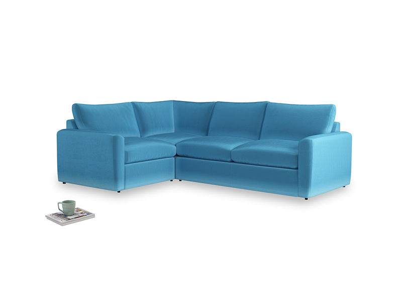 Large left hand Chatnap modular corner sofa bed in Teal Blue plush velvet with both arms
