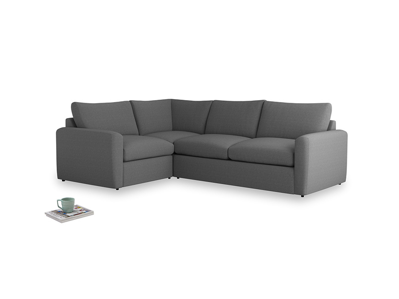 Large left hand Chatnap modular corner storage sofa in Ash washed cotton linen with both arms