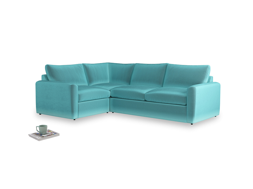 Large left hand Chatnap modular corner storage sofa in Belize clever velvet with both arms
