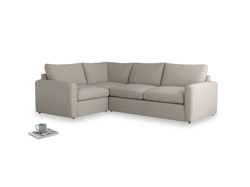 Large left hand Chatnap modular corner storage sofa in Birch wool with both arms