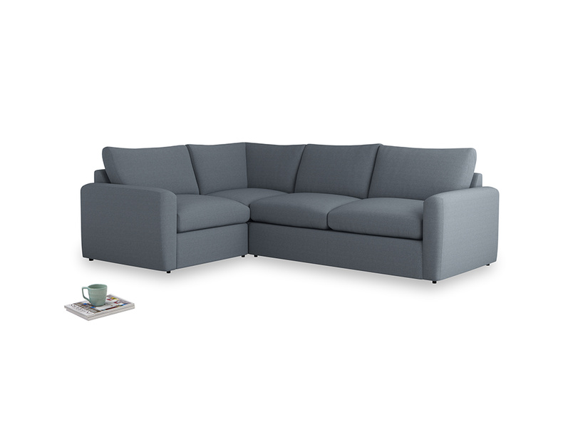 Large left hand Chatnap modular corner storage sofa in Blue Storm washed cotton linen with both arms