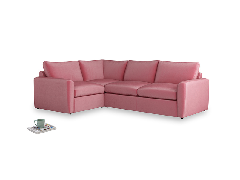 Large left hand Chatnap modular corner storage sofa in Blushed pink vintage velvet with both arms