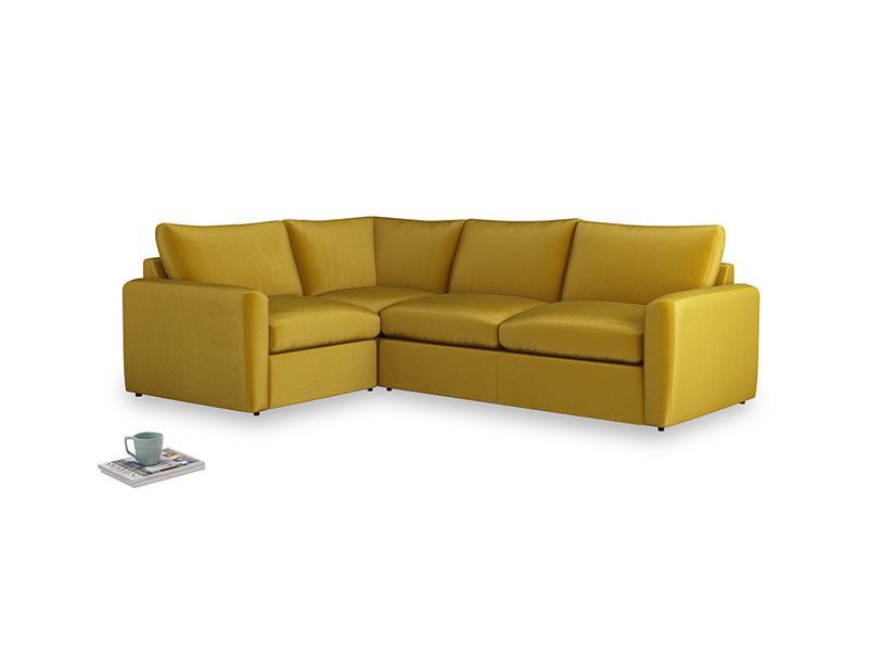 Large left hand Chatnap modular corner storage sofa in Burnt yellow vintage velvet with both arms