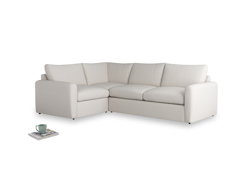 Large left hand Chatnap modular corner storage sofa in Chalk clever cotton with both arms