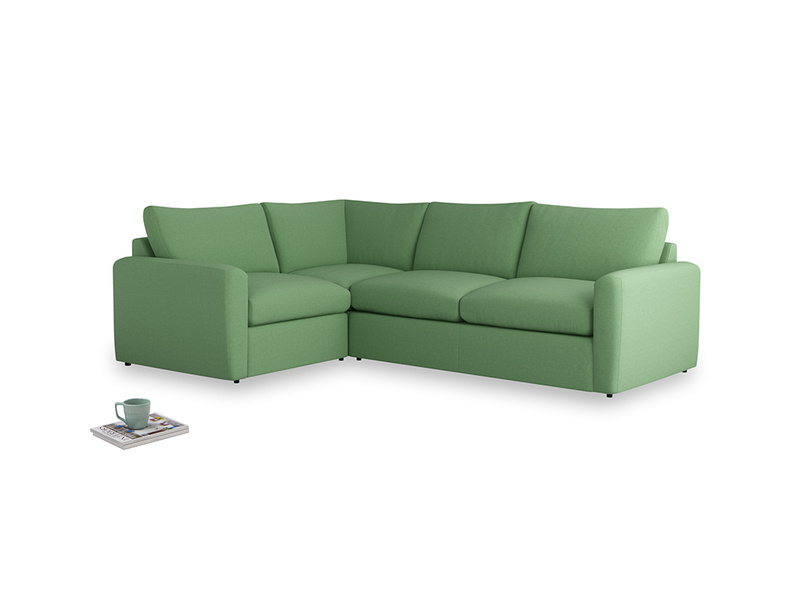 Large left hand Chatnap modular corner storage sofa in Clean green Brushed Cotton with both arms