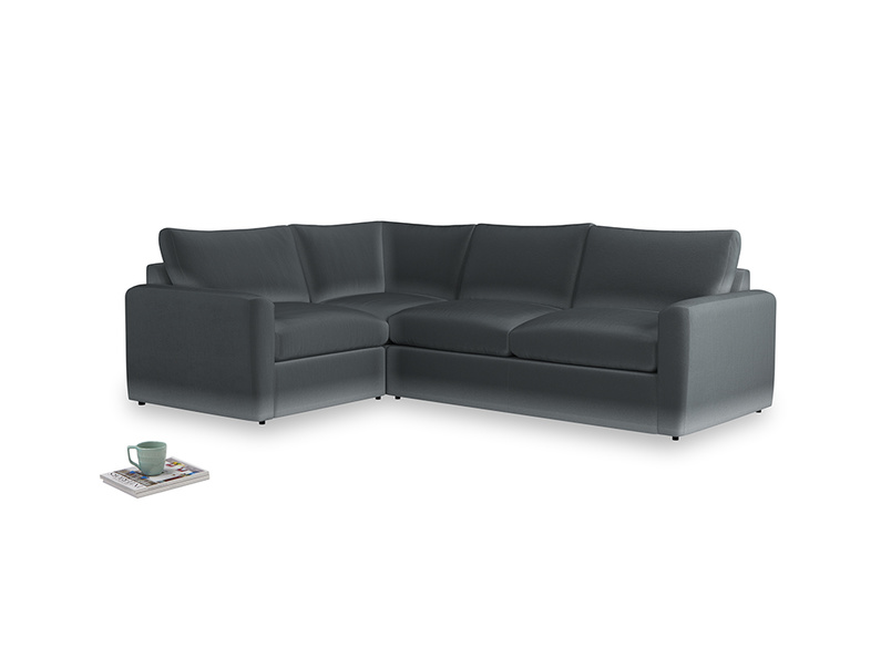 Large left hand Chatnap modular corner storage sofa in Dark grey Clever Deep Velvet with both arms