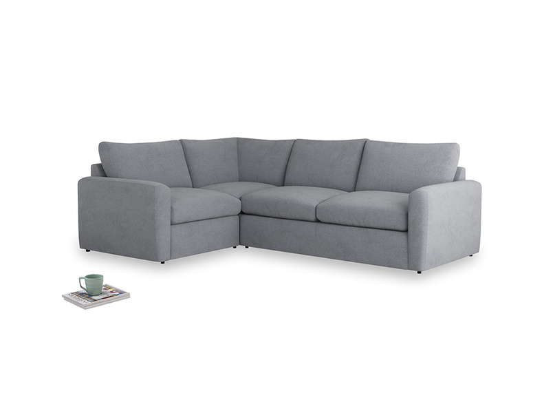 Large left hand Chatnap modular corner storage sofa in Dove grey wool with both arms