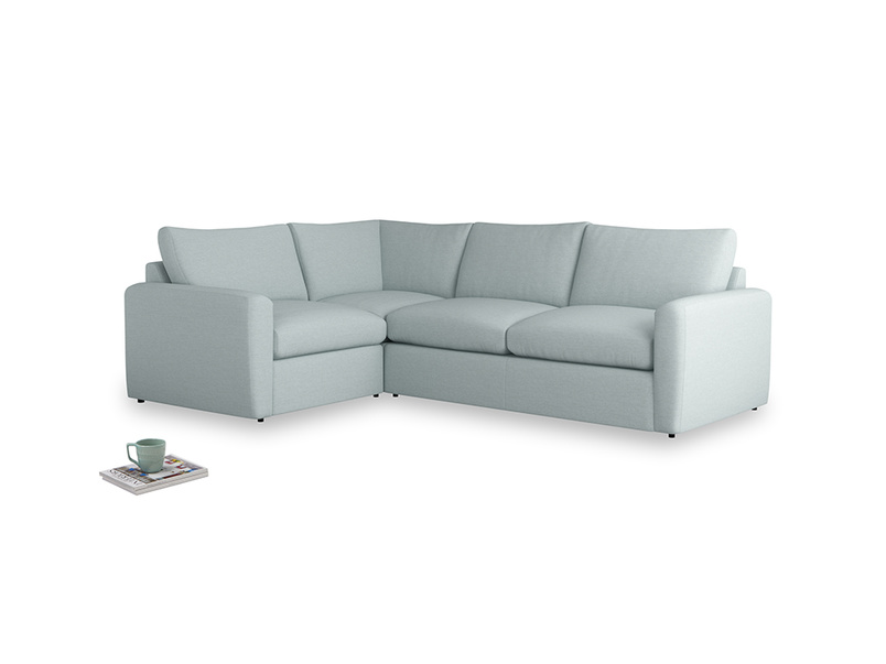 Large left hand Chatnap modular corner storage sofa in Duck Egg vintage linen with both arms