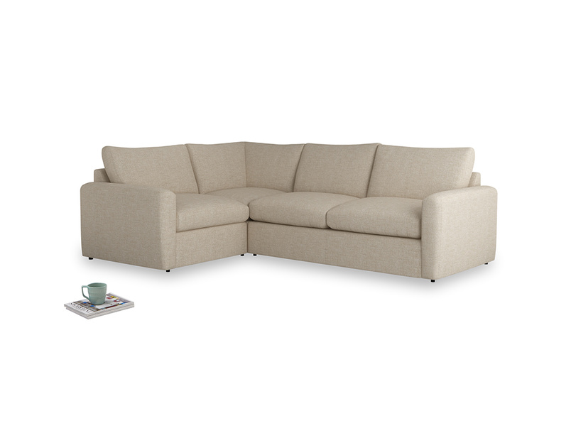 Large left hand Chatnap modular corner storage sofa in Flagstone clever woolly fabric with both arms