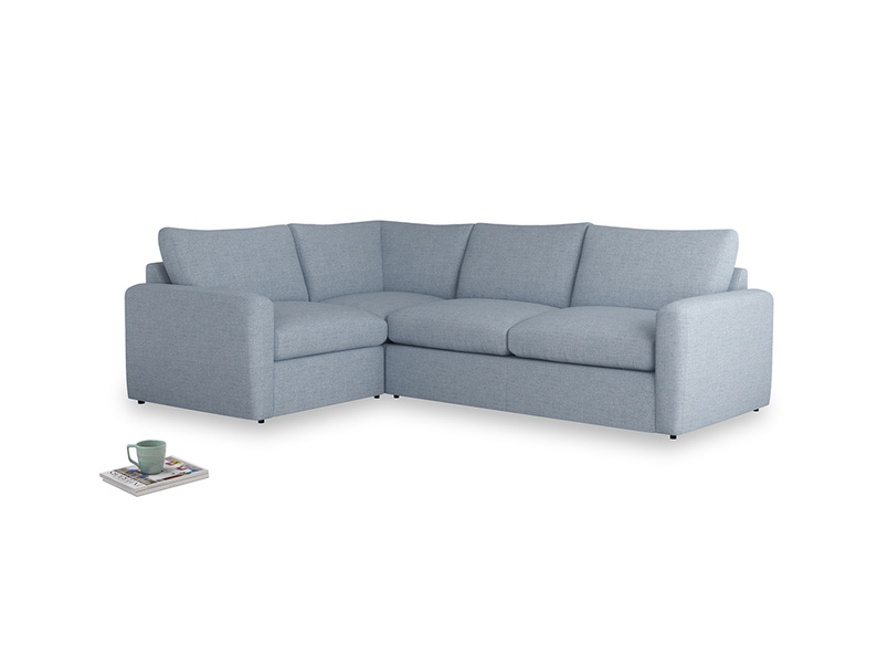 Large left hand Chatnap modular corner storage sofa in Frost clever woolly fabric with both arms