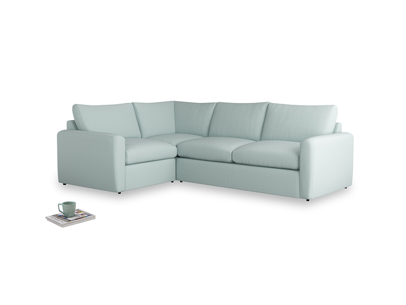 Large left hand Chatnap modular corner storage sofa in Gull's Egg Brushed Cotton with both arms