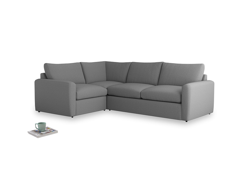 Large left hand Chatnap modular corner storage sofa in Gun Metal brushed cotton with both arms