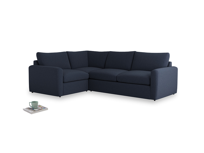 Large left hand Chatnap modular corner storage sofa in Indigo vintage linen with both arms