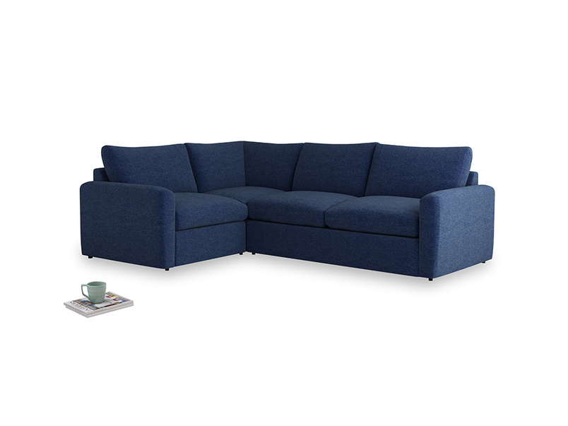 Large left hand Chatnap modular corner storage sofa in Ink Blue wool with both arms