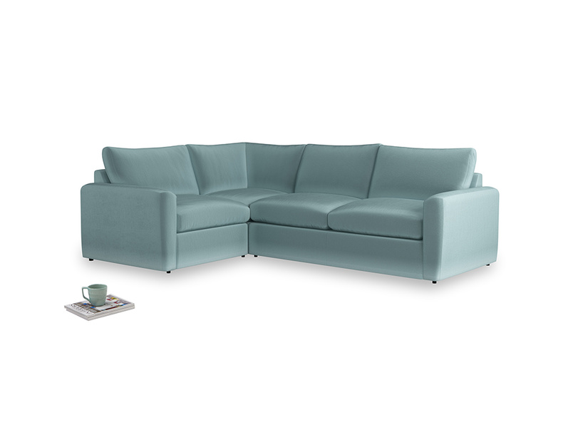 Large left hand Chatnap modular corner storage sofa in Lagoon clever velvet with both arms
