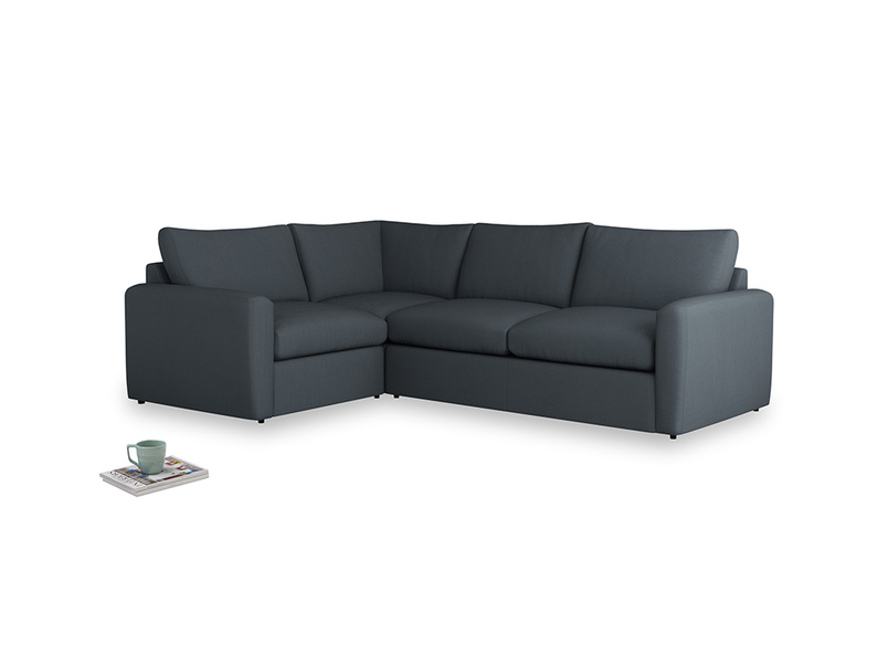 Large left hand Chatnap modular corner storage sofa in Lava grey clever linen with both arms