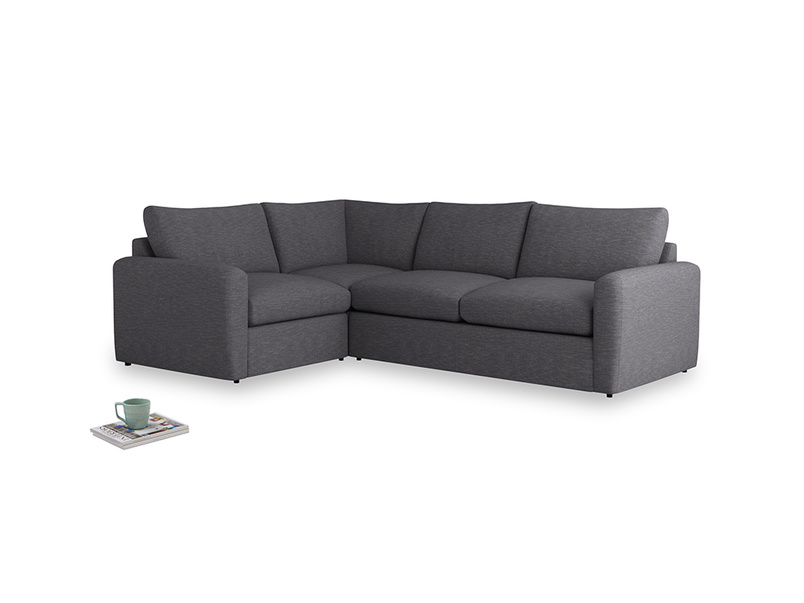 Large left hand Chatnap modular corner storage sofa in Lead cotton mix with both arms