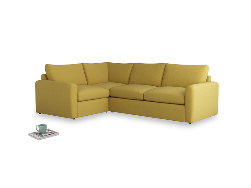 Large left hand Chatnap modular corner storage sofa in Maize yellow Brushed Cotton with both arms