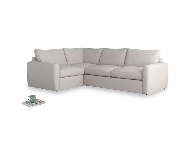 Large left hand Chatnap modular corner storage sofa in Lunar Grey washed cotton linen with both arms