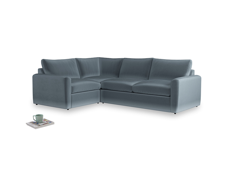 Large left hand Chatnap modular corner storage sofa in Mermaid plush velvet with both arms