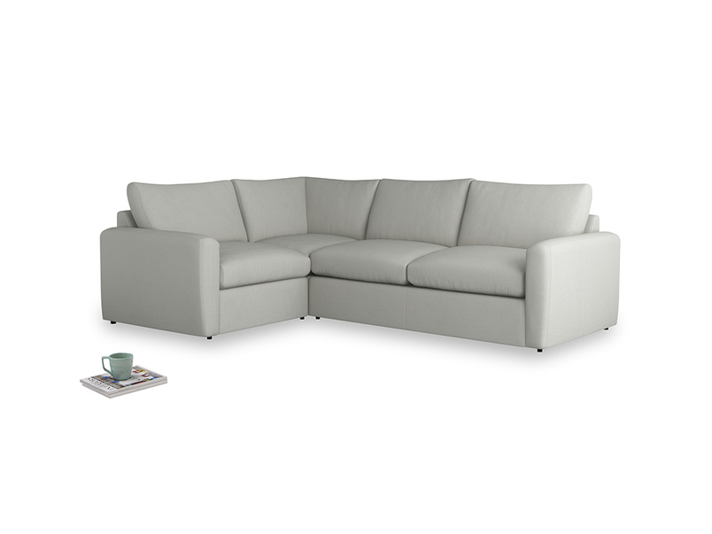 Large left hand Chatnap modular corner storage sofa in Mineral grey clever linen with both arms