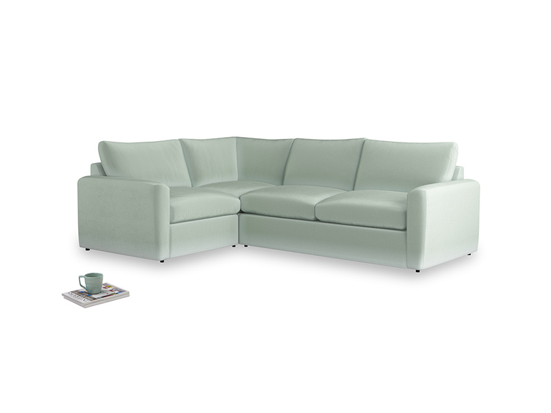 Large left hand Chatnap modular corner storage sofa in Mint clever velvet with both arms
