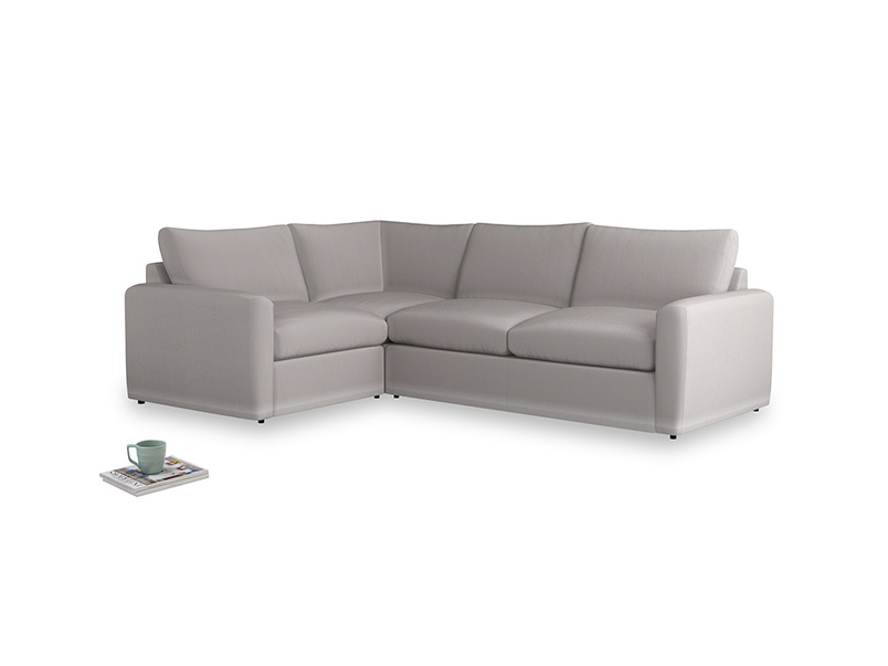 Large left hand Chatnap modular corner storage sofa in Mouse grey Clever Deep Velvet with both arms