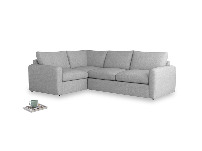 Large left hand Chatnap modular corner storage sofa in Mist cotton mix with both arms