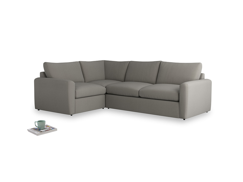 Large left hand Chatnap modular corner storage sofa in Monsoon grey clever cotton with both arms