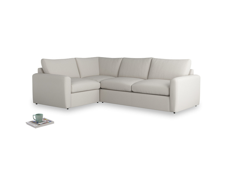 Large left hand Chatnap modular corner storage sofa in Moondust grey clever cotton with both arms