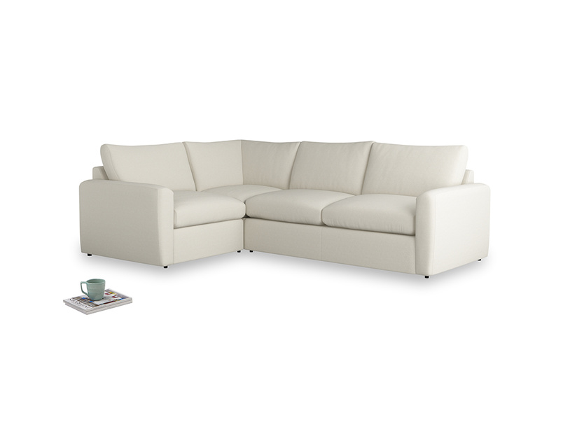Large left hand Chatnap modular corner storage sofa in Oat brushed cotton with both arms